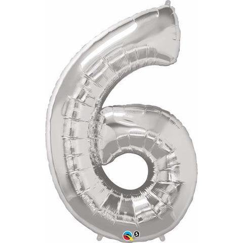 Silver Number 6 Six 86cm Foil Balloon Qualatex
