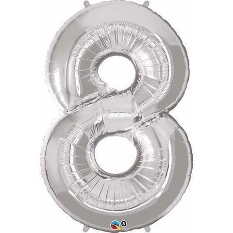Silver Number 8 Eight 86cm Foil Balloon Qualatex