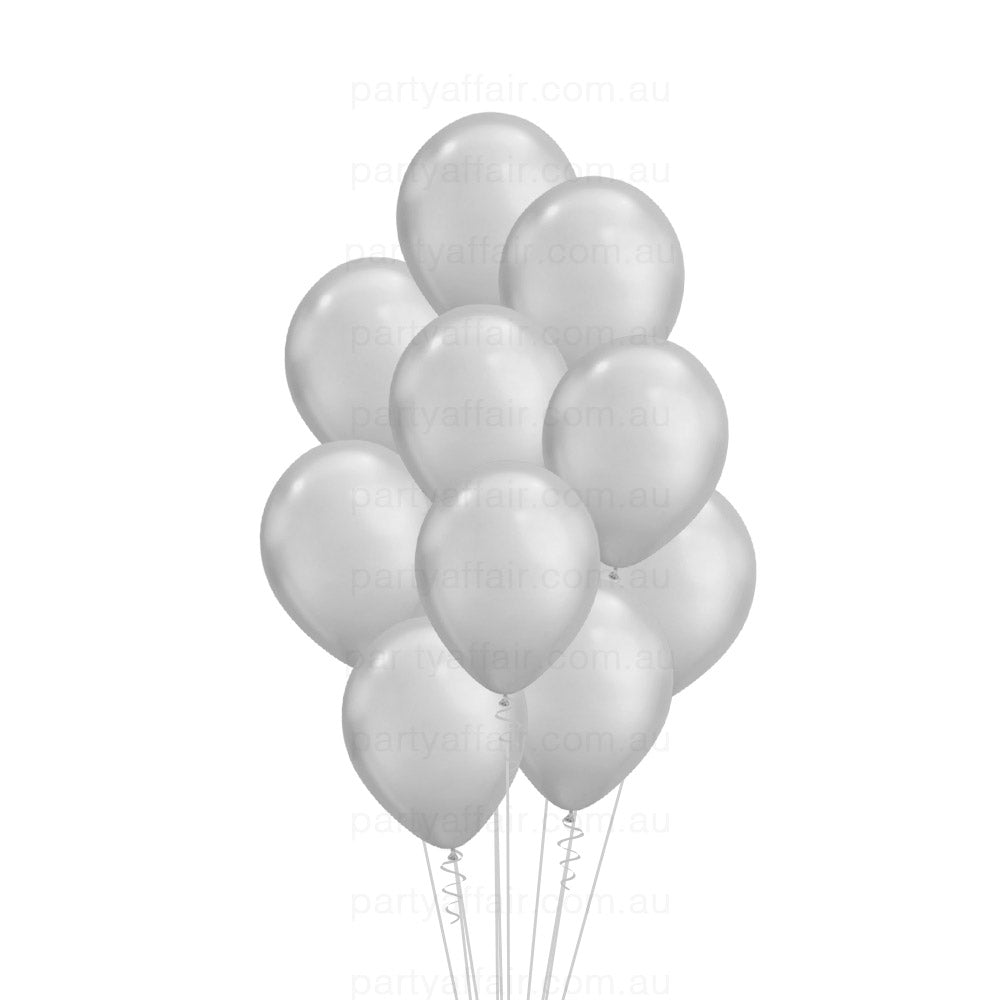 Silver Chrome Latex 10 Balloon Bouquet
