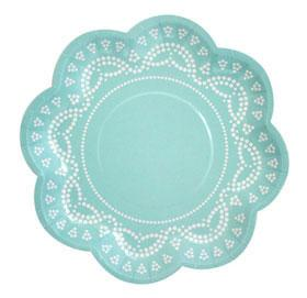 Tiffanesque Blue Doily Print Plates Sundays