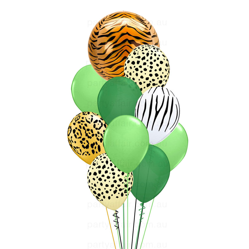 Jungle Jive Tiger Foil Orb Balloon Bouquet