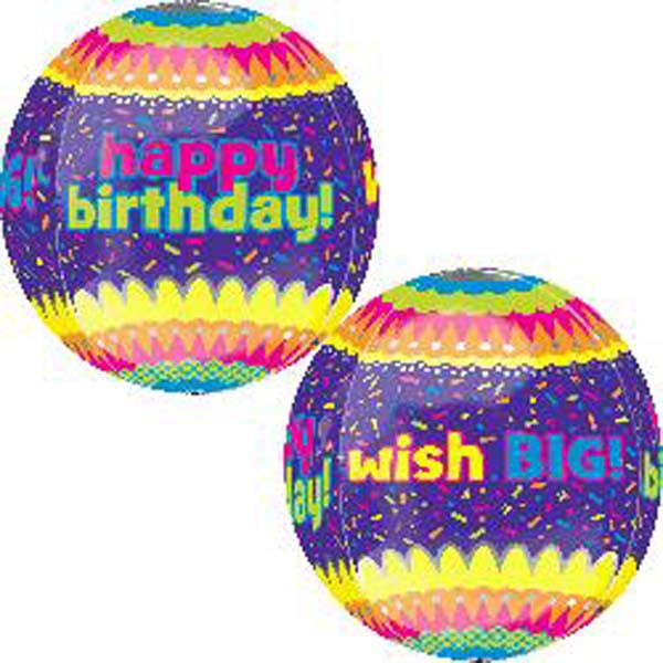 Happy Birthday Wish Big Orbz Foil Balloon