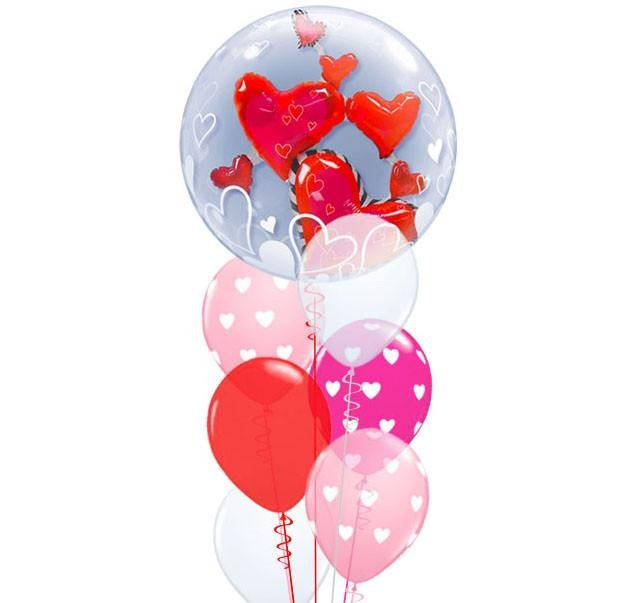Valentine's Lovely Floating Hearts Double Bubble Balloon Bouquet Qualatex