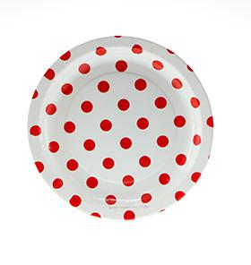 White with Red Polka Dot Cake Plates Sambellina