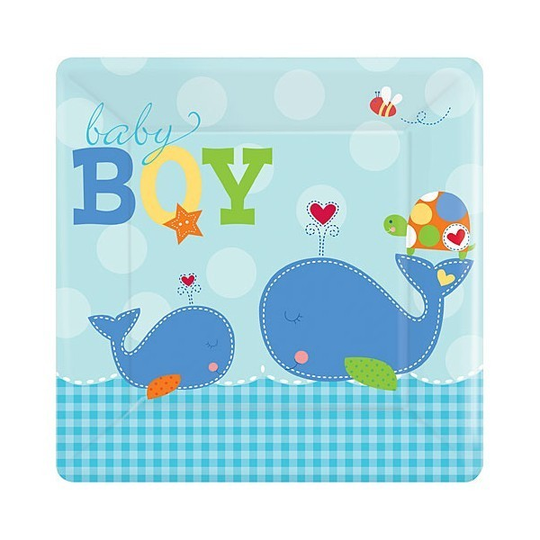 Ahoy Baby Boy Large Square Plate