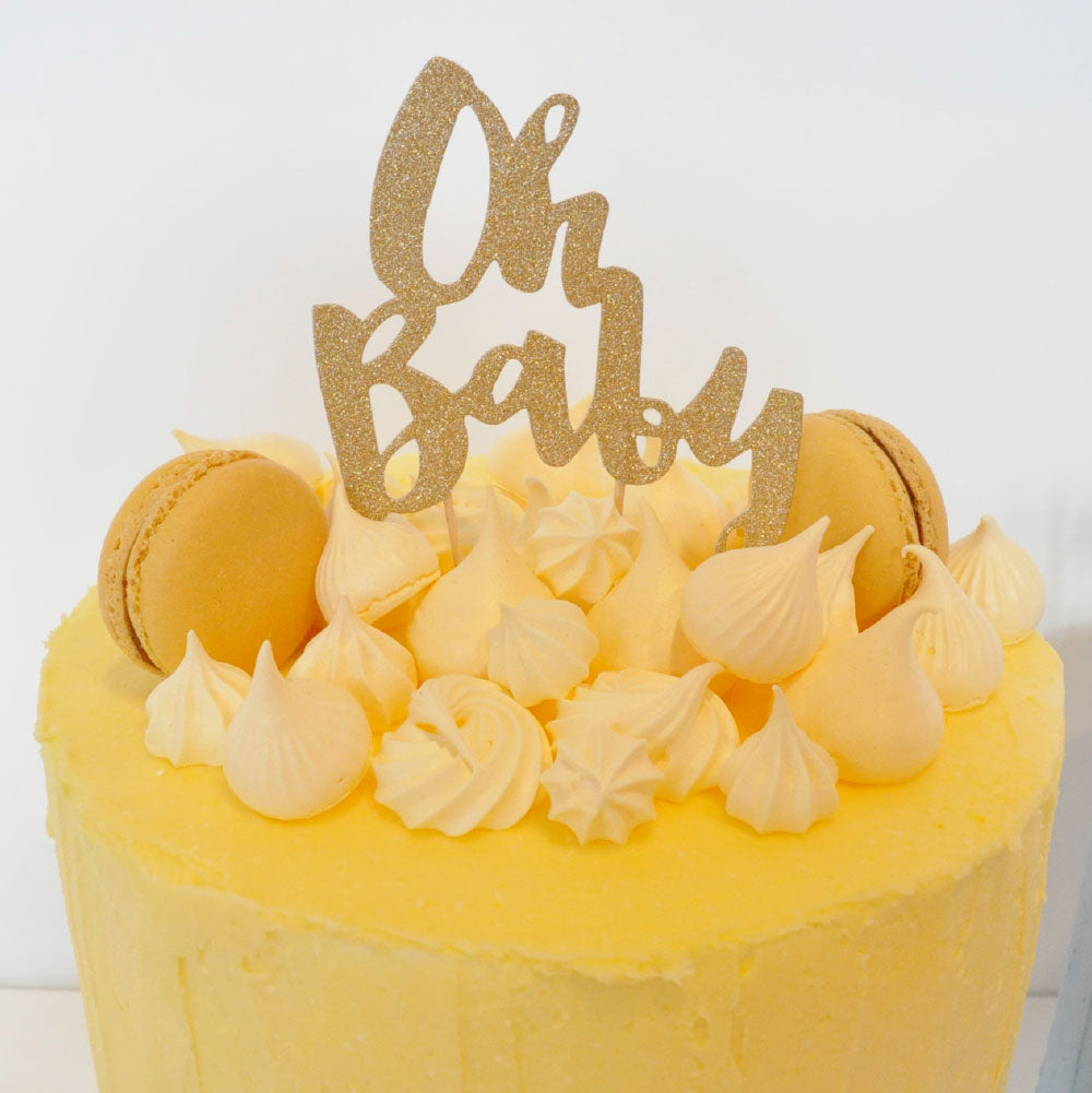 Oh Baby' Gold Glitter Cake Topper illume design