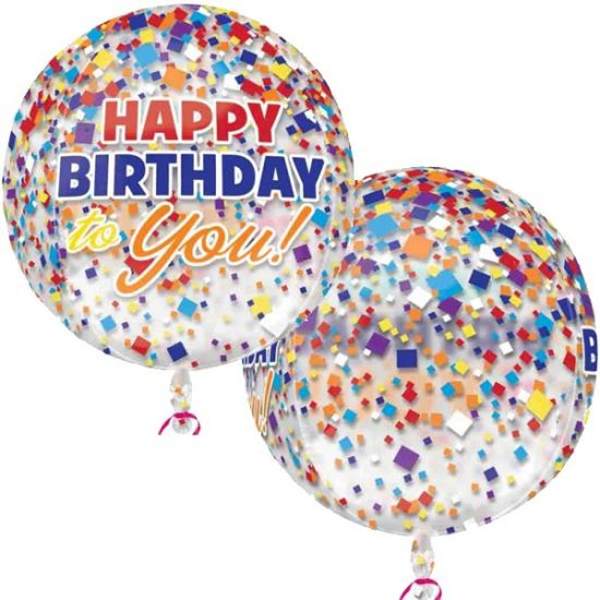 Happy Birthday To You Confetti Orbz Foil Balloon