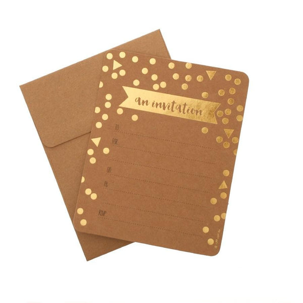 Foil Confetti And Kraft Invitations