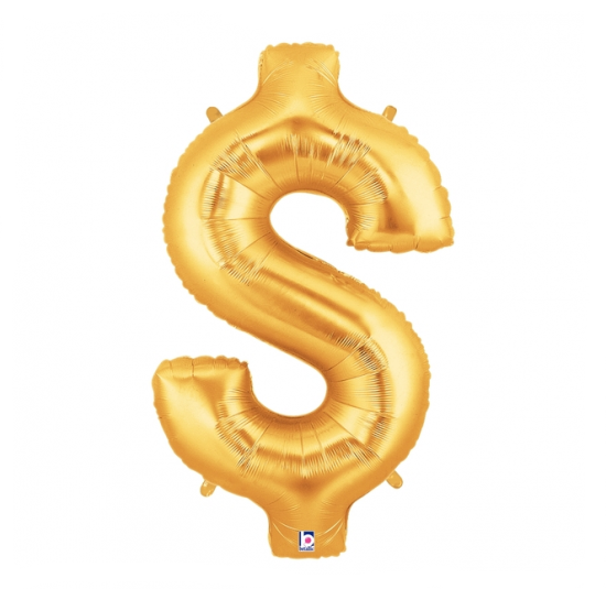 Gold Dollar Sign $ Foil Balloon