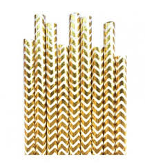 gold foil chevron straws