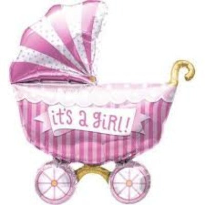 It's A Girl Buggy Foil Balloon Shape