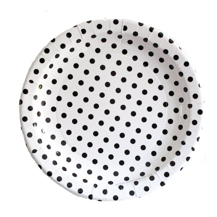 Black On White Polka Dot PaperPlates