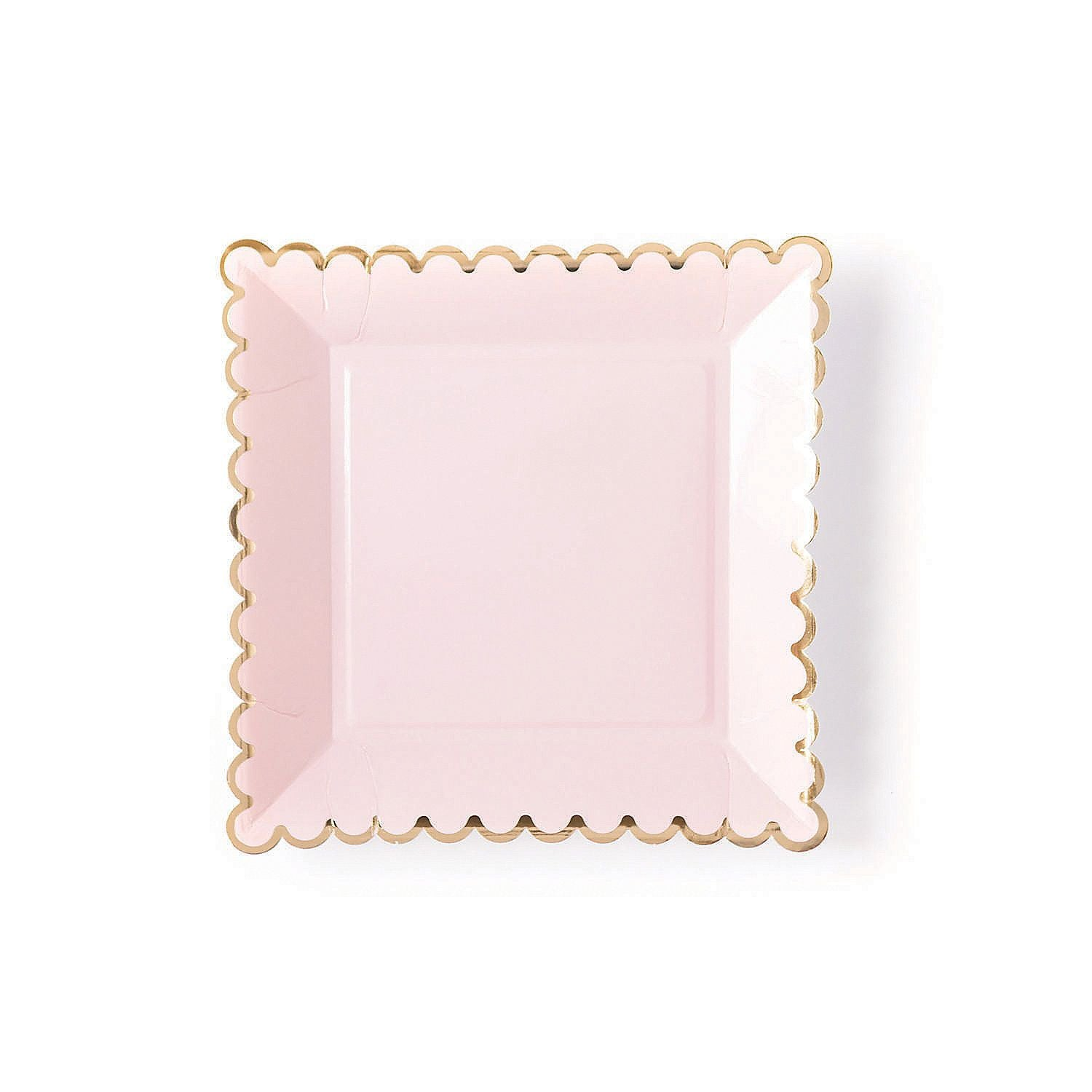 Blush Square Plates With Gold Border