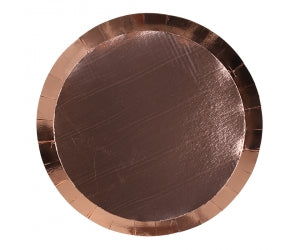 metallic rose gold round dinner plates