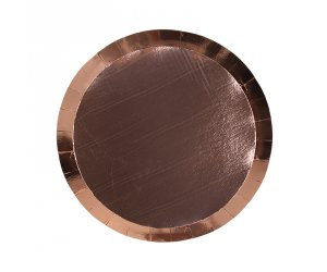 Metallic Rose Gold Round Snack Plates