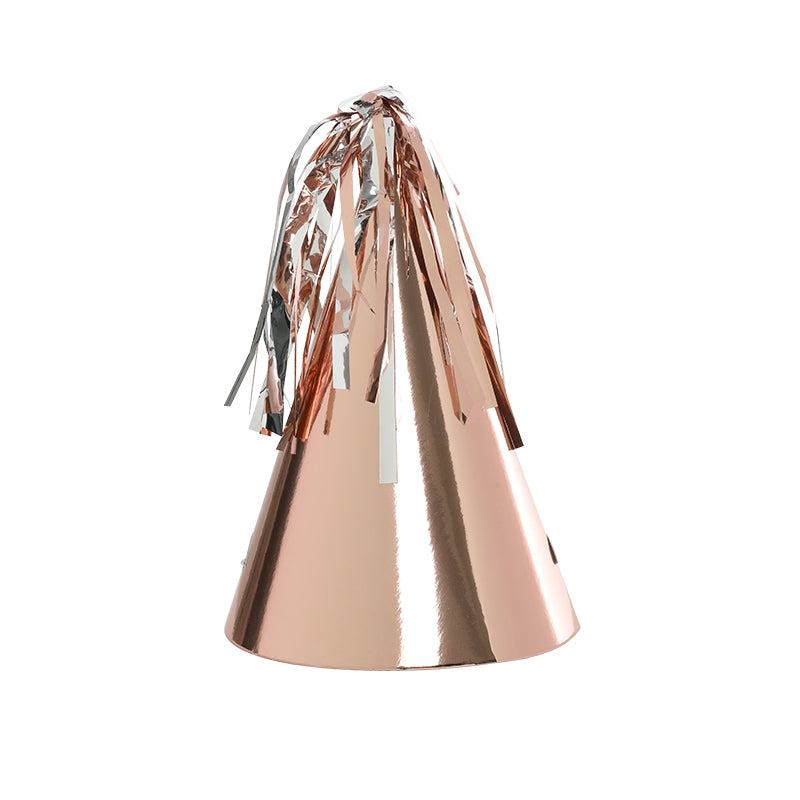 Metallic Rose Gold Tassel Topper Party Hats