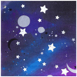 Metallic Stars And Moons Galaxy Lunch Napkins