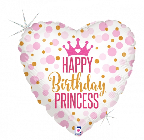 Happy Birthday Glitter Princess Foil Balloon