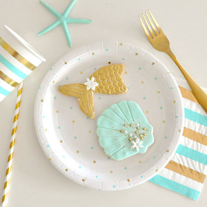 Gold and Mint Stripes and Spots Cocktail Napkins