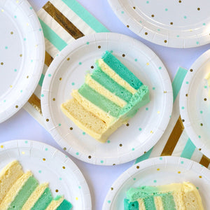 Gold and Mint Stripes and Spots Lunch Napkins