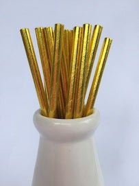 gold foil metallic paper straws