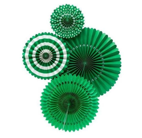 Green Decorative Paper Party Fans
