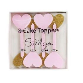 Gold And Pink Heart Cake Toppers