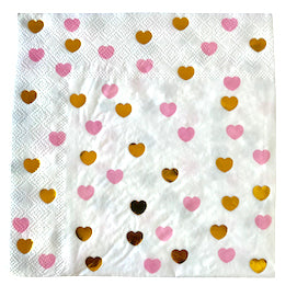 Pink And Gold Sweetheart Lunch Napkins