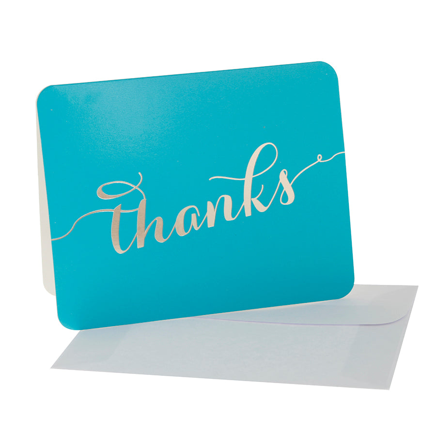 Teal With Gold Script 'Thanks' Thank You Cards