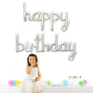 DIY Silver Holographic Script Happy Birthday Foil Balloon Air-fill