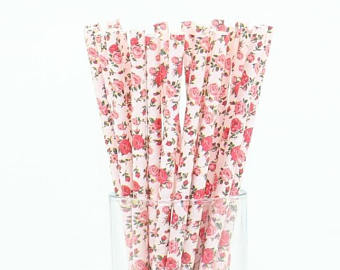 pink floral paper straws