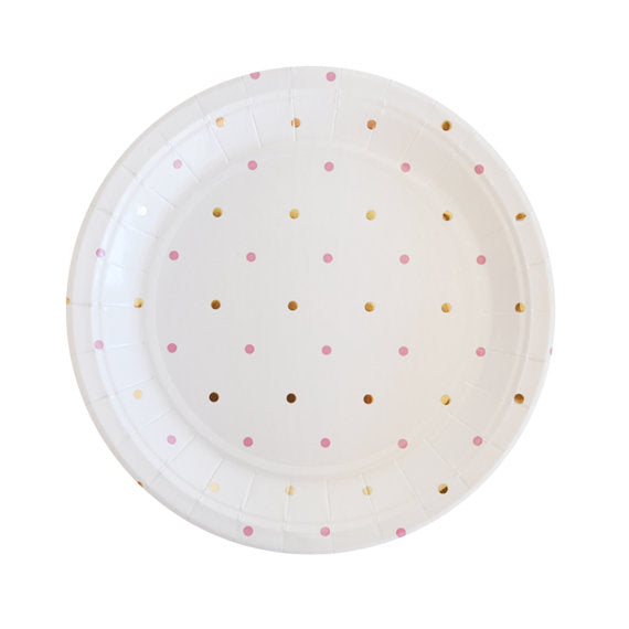 gold and pink spots dessert plates