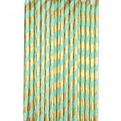 mint and gold foil striped straws - party affair