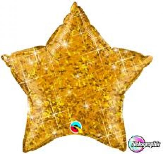 Jewel Gold Holographic Star Foil Balloon