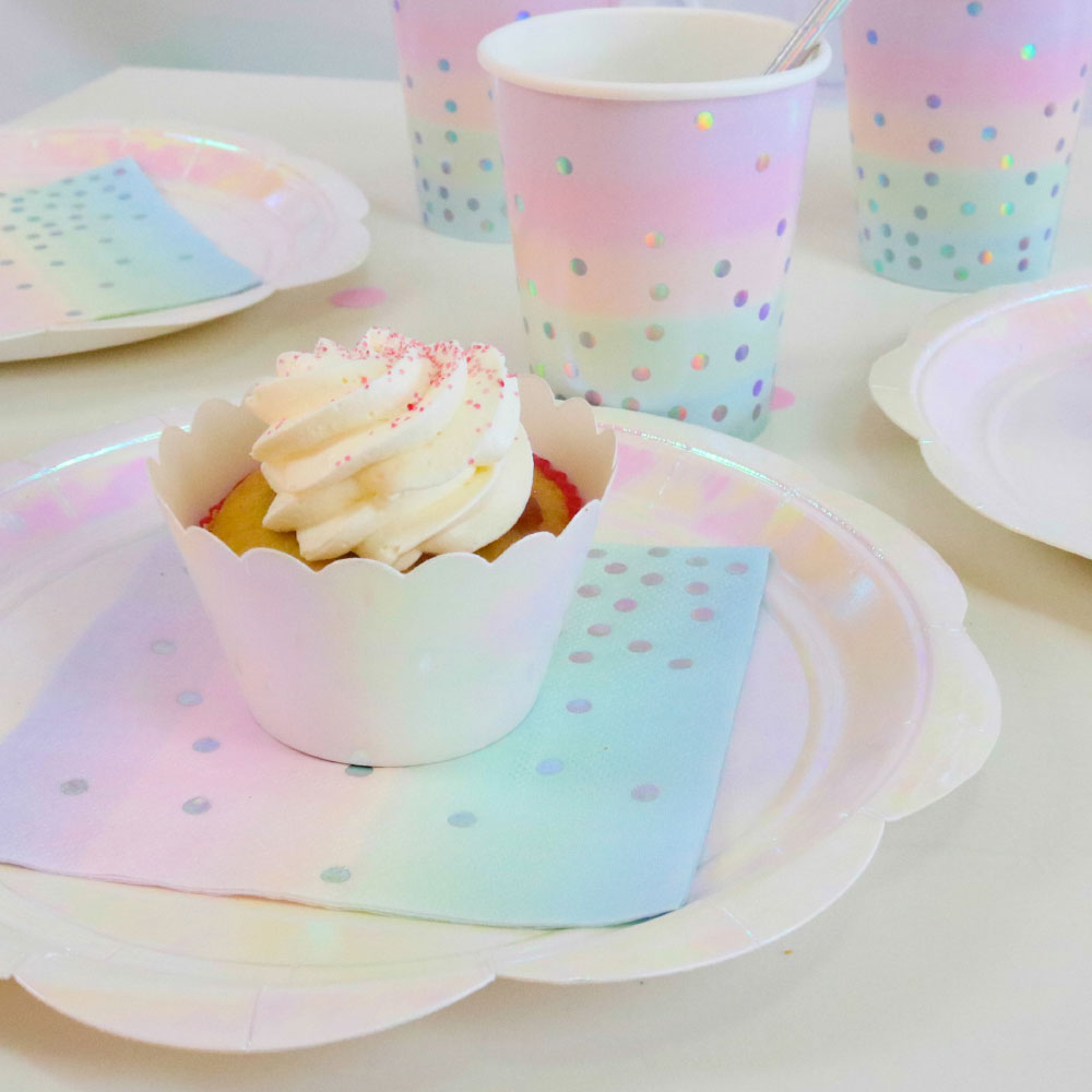 Iridescent Foil Party Dinner Plates