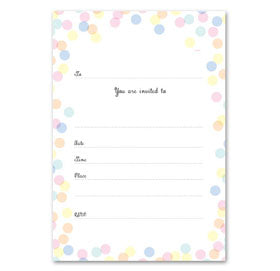 Pastel Coloured Confetti Party Invitations - Party Affair