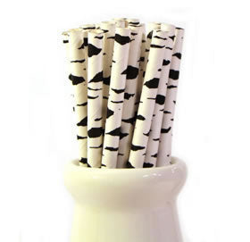 black animal print straws