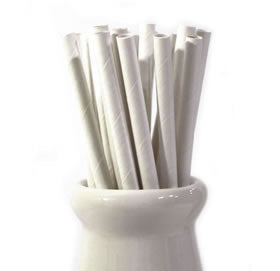 solid white paper straws