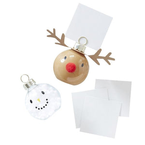 Gold Glitter Reindeer & Snowman Glass Bauble Place Card Holders