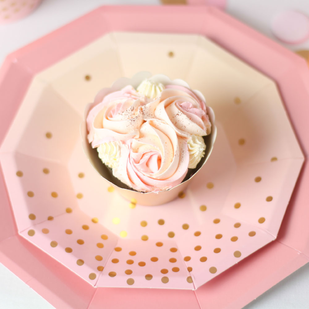 Peach And Pink With Gold Confetti Dessert Plate