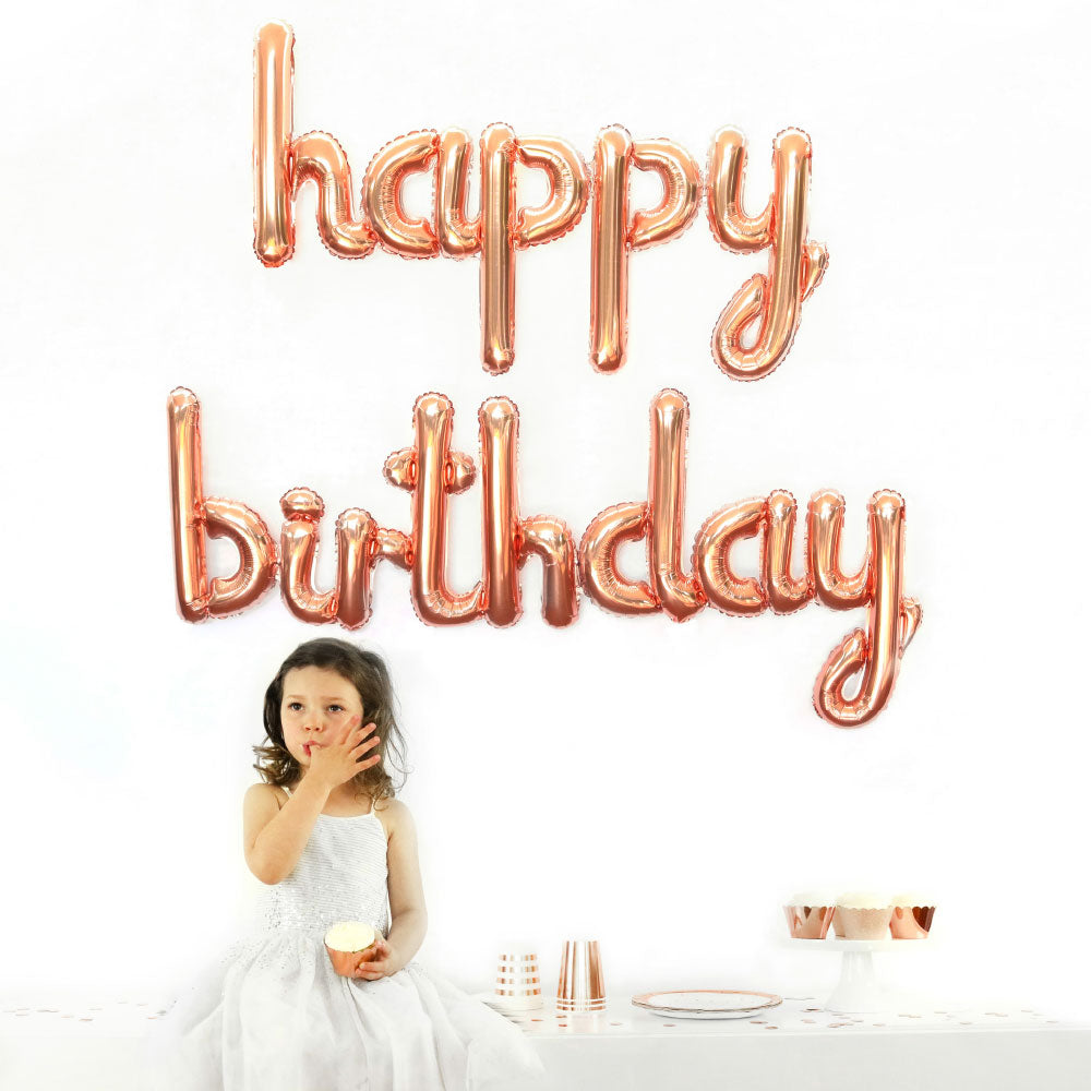 Rose Gold Happy Birthday Foil Balloon - Party Affair