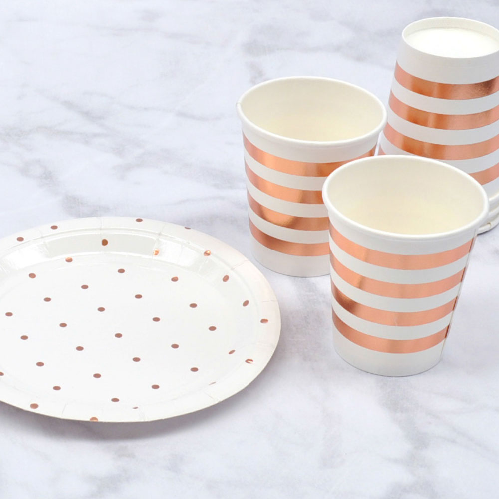 Rose Gold Dots Dinner Plates illume design