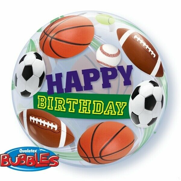 Sports Balls Happy Birthday Plastic Bubble Balloon