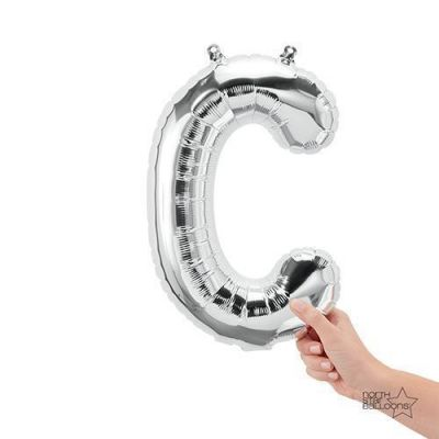 Silver Junior Letter C Foil Balloon