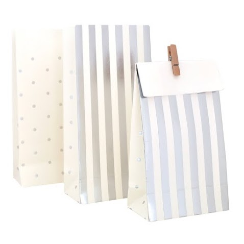 Silver Stripes and Dots Treat Bags