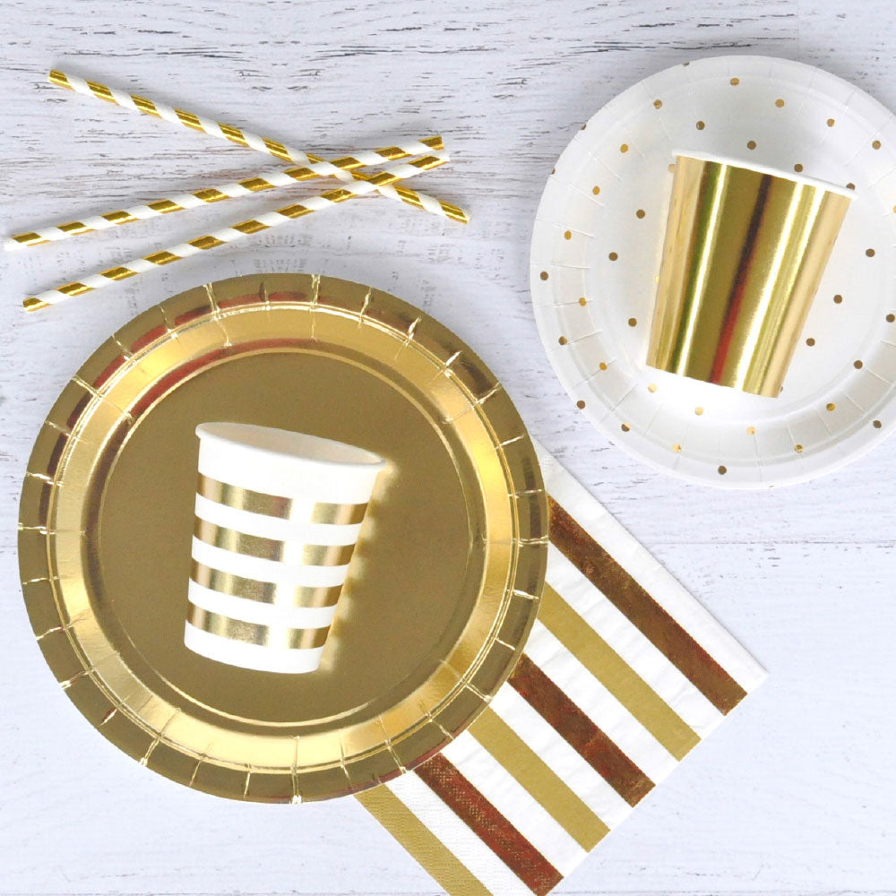 Gold Metallic Foil Dinner Plates illume design