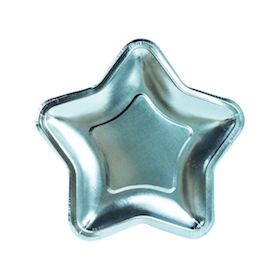 Metallic Blue Star Shaped Plates