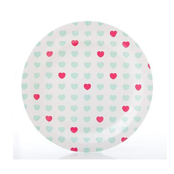 Sweetheart Paper Plates Aqua and Hot Pink
