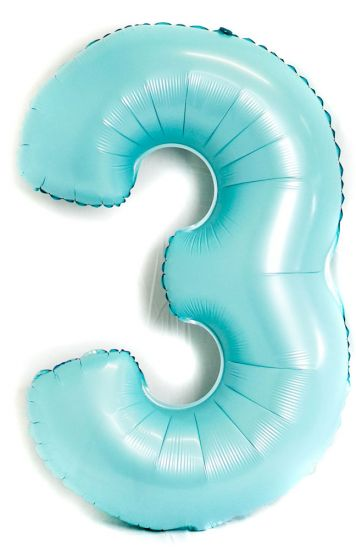 Light Blue Number 3 Three Large Foil Balloon