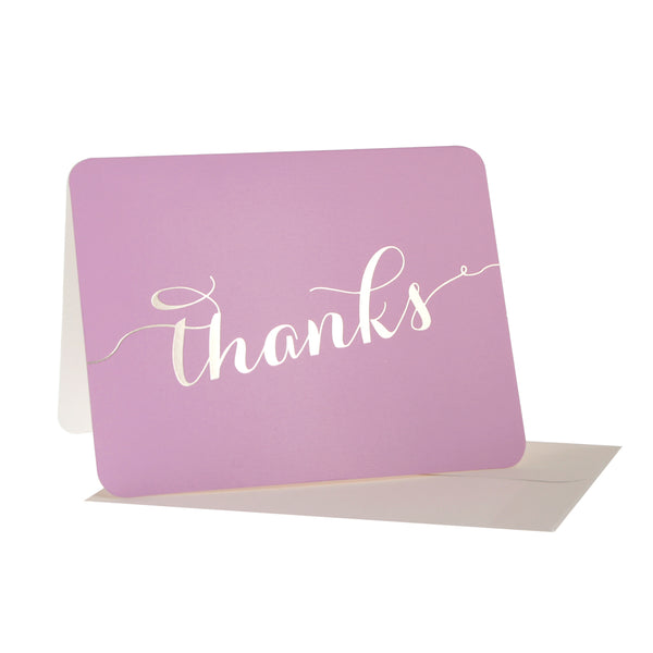 Lilac With Gold Script 'Thanks' Thank You Cards
